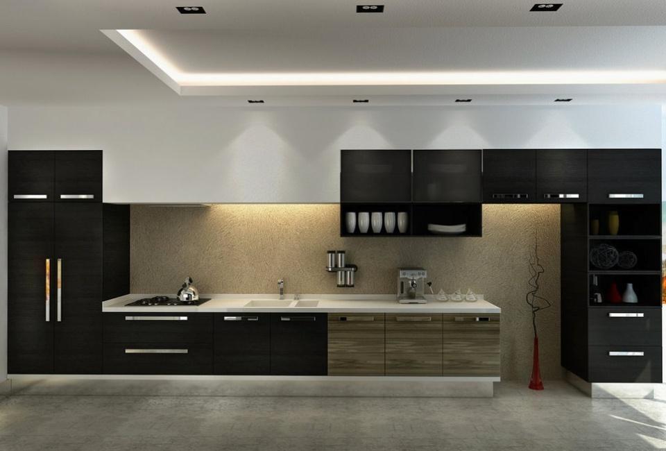 Прямая глянцевая кухня №9