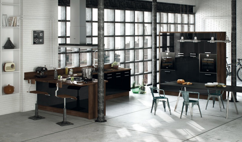 Глянцевая кухня с барной стойкой №1